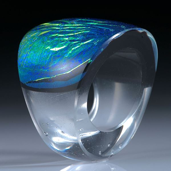 Fingerring Dichroic Glass, Opalglas