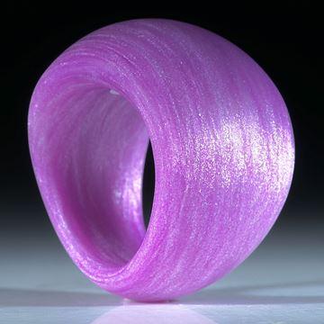 Fingerring aus Glasfaser Kobaltviolett mit Mira Silber
