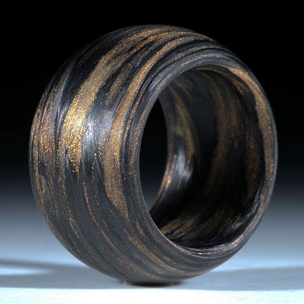 Fingerring Karbon, Glasfaser Mira Kupfer handgewickelt