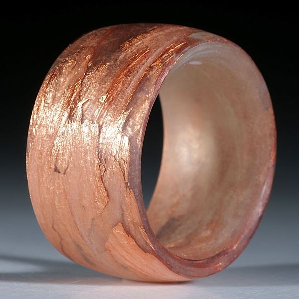 Glasfaser mit Blattkupfer, Fingerring handgeschliffen