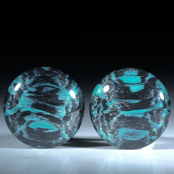Paar für Ohrschmuck, Carbon mit Glasfaser Libellengrün