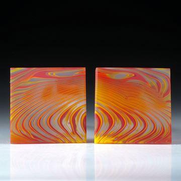 Fusing Glas Paar für Ohrschmuck, viereckige Form in Torsion geschliffen