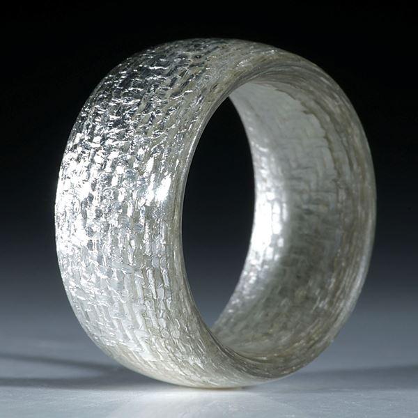 Silbertex Fingerring handgeschliffen, parallele Form