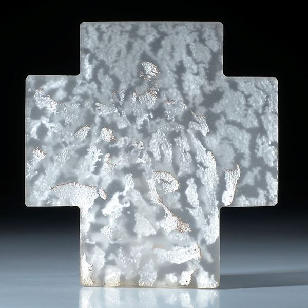 Silberglas Kreuz mattiert ca.71x68x5mm