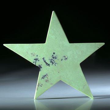 Zitronenchrysopras Stern, beidseitig flach geschliffen