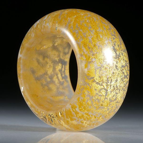 Goldglas Fingerring, Bandring parallel, bombiert