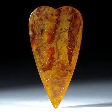 Baltischer Bernstein, Herzform mit naturbelassener Rückseite ca.86x45x15mm