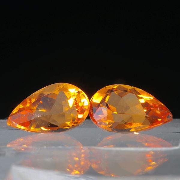 Mandaringranat Paar, Tropfenform 2.01ct.