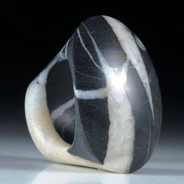 Kieselstein Ring mit Quarzlinie, Tafelring ca.36x30x26mm