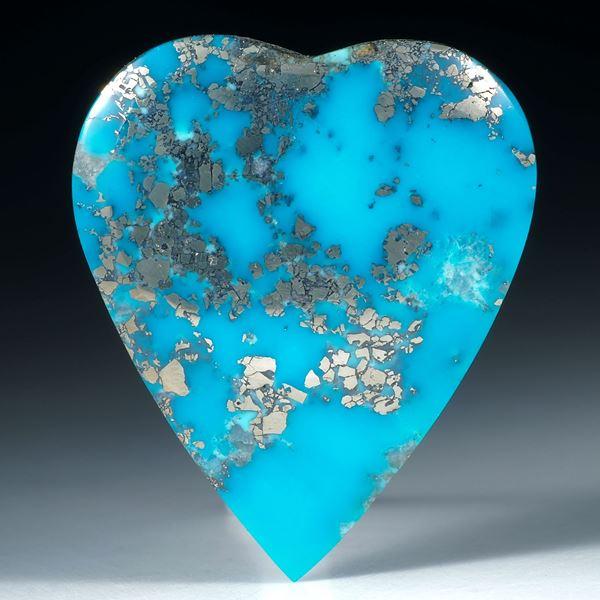 Türkis mit Pyrit, Herzform bombiert ca.40x34x4.5mm
