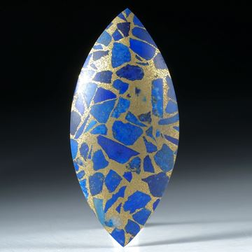 Lapislazuli in Messingmatrix, Navette bombiert, fein matt ca. 51x23x6mm