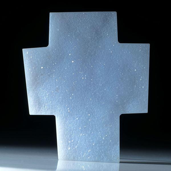 Chalcedon mit Kristallrasen, grosses Kreuz ca.68x57x7mm