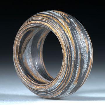 Fibertec Ring, Karbon mit Glasfaser Bronce und Alu metallic