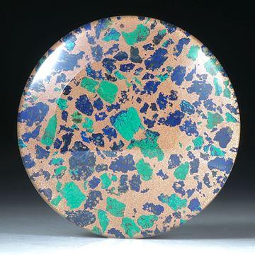 Azurit Malachit mit Bergkristall doublettiert, grosse Rondelle 46x46x6.5mm