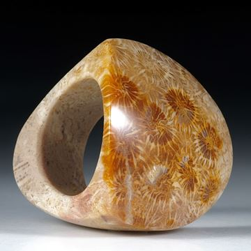 Fingerring versteinerte Koralle ca.33x33x32mm