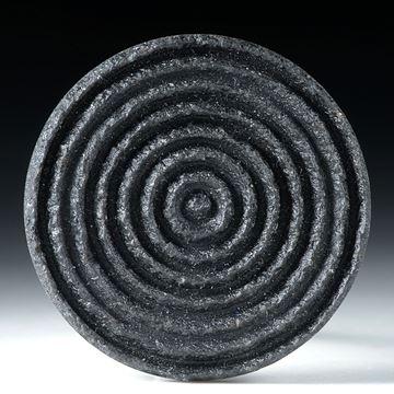 Freiform Gabbro (nero assoluto), rund strukturiert 38x38x3.5mm