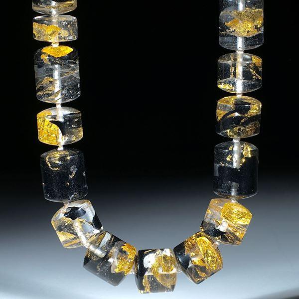 Goldglas, handgeschliffenes Collier aus polierten Zylinderteilen, Durchmesser ca.17mm