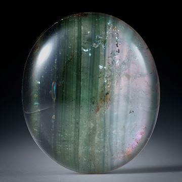 Turmalin mit Bergkristall doublettiert, 29.02ct. Ovaler Cabochon ca.25x22x6.5mm