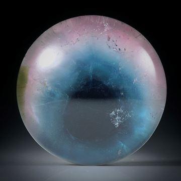 Turmalin mit Bergkristall doublettiert, 29.08ct. runder Cabochon ca.20x20x9mm