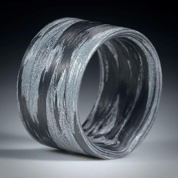 Fingerring Fibertec, Karbon mit Alutex, parallele Form innen gerundet