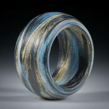 Fingerring Fibertec, Carbon / Glasfaser handgewickelt, Mira Sonnengold und Mira Türkis