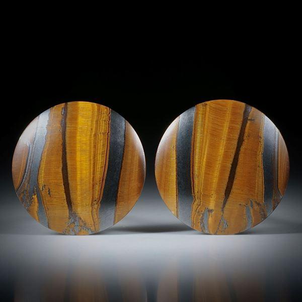 Tigerauge Paar für Ohrschmuck, 31x31x5mm