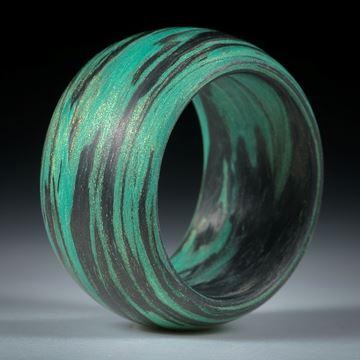 Karbonring mit Glasfaser gründynamisch, bombiert und feinmatt
