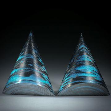 Karbonpaar poliert mit Glasfaser Mira Türkis, ca.35x30x12mm