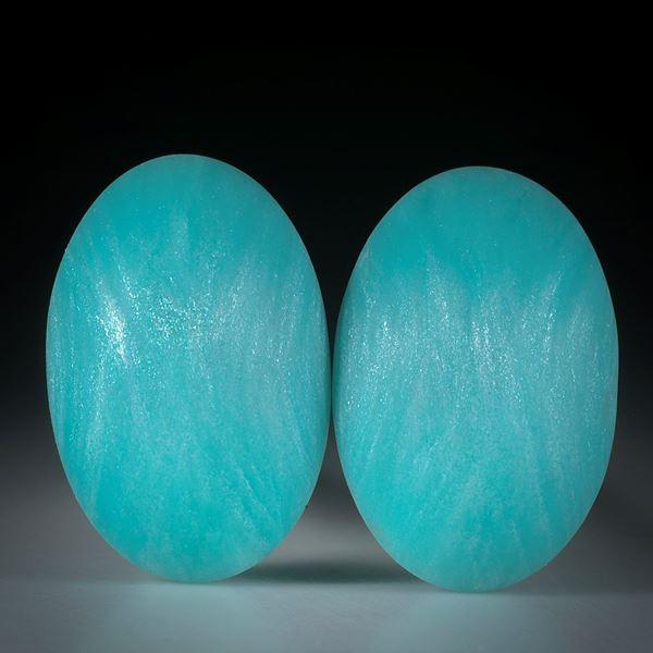 Glasfaser Paar Kobaltblau Türkis mit Mira Silber