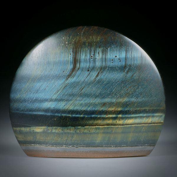 Falkenauge halbrund, Oberseite gespannt und poliert, ca.44x37x8mm