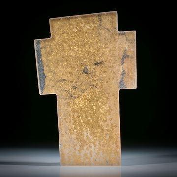Glaskreuz mit eingebranntem Echtgold ca.84x56x3.5mm