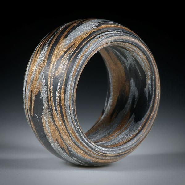 Karbonring, Karbon mit Glasfaser Bronze/Alu, handgewickelt (Triplex) feinmatt, aussen gerundet