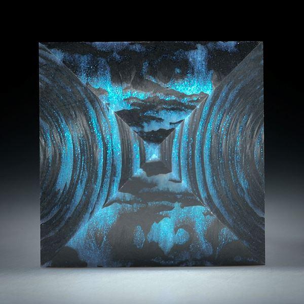 Karbon mit Glasfaser Mira Türkis, Pyramide feinmatt ca.28x28x16mm