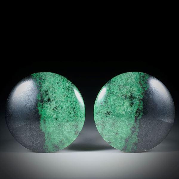 Grossular Paar rund, Durchmesser 28mm, Oberseite leicht bombiert und poliert