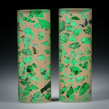 Maw-sit-sit Paar mit Bergkristall doublettiert, Stabform poliert ca.37.5x13.5x4.5mm