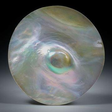 Perlmutterscheibe runde Form mit eingewachsener Perle ca.39x38x8.5mm