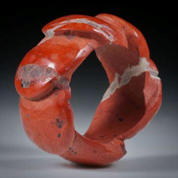 """Edelsteinring Jaspis rot """"Schaufelrad"""", Innendurchmesser 18.2mm"""
