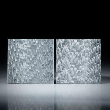 Alutex Paar, Quadrate plangeschliffen feinmatt ca.25x25x2mm