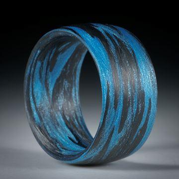 """Karbonring mit Glasfaser """"Libellenblau"""" handgewickelt"""