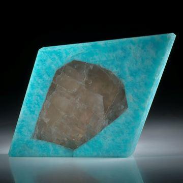 Amazonit mit Kristalleinschluss (Albit), Brasilien, ca.77x53x13mm
