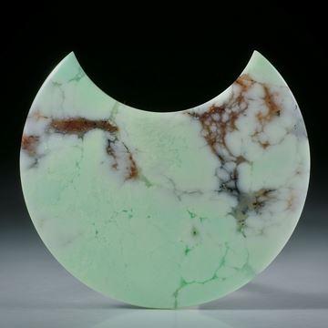 Zitronenchrysopras Sichelform, leicht bombiert und poliert ca.45x40x6.5mm