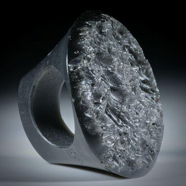Edelsteinring Obsidian mit naturbelassener Tafel