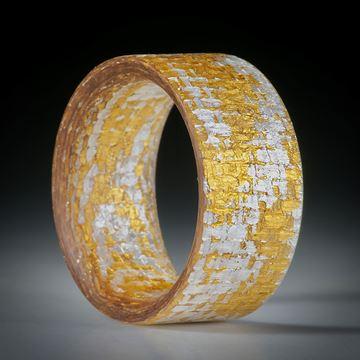 Fingerring Goldtex, Glasfaser handgewickelt, mit Blattgold und Blattsilber,