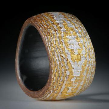 Fingerring Goldtex, Glasfaser handgewickelt, mit Blattgold und Blattsilber
