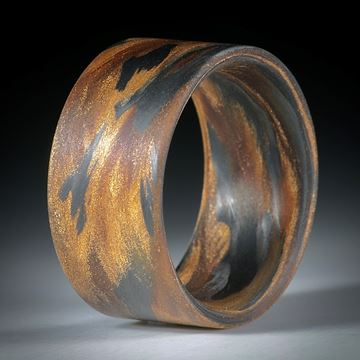 Fingerring Fibertec, Karbon mit Glasfaser Bronze, Umbra und Ocker