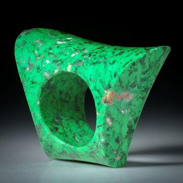 Edelsteinring Mawesit, Chloromelanit, Maw sit sit,  bequeme Form aus zwei gebogenen Flächen