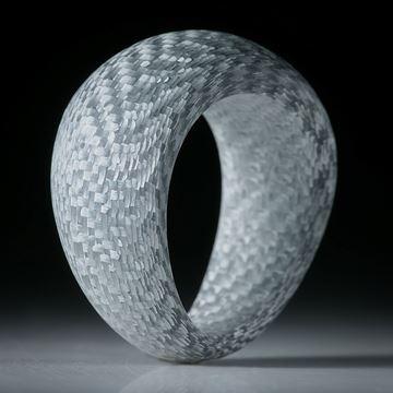 Fingerring Alutex, feine Struktur mattiert, handgeschliffene geschwungene Form