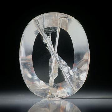 Rutilquarz mit Kreuz, ovaler Spiegelschliff 22.95ct.  24x19x7mm