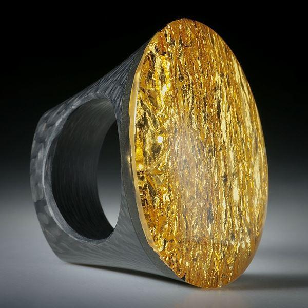 Fingerring Goldglas (Glas mit eingeschmolzenem Echtgold)