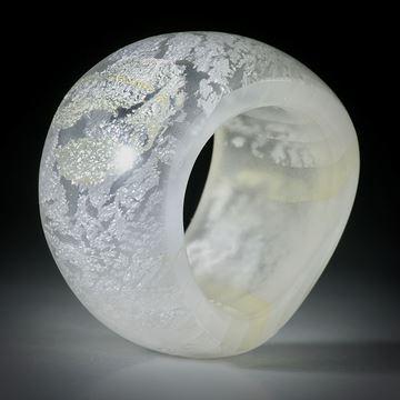Fingerring Silberglas (Glas mit eingeschmolzenem Echtsilber)